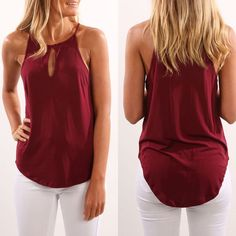 Fashion Women Summer Vest Top Sleeveless Shirt Blouse Casual Tank Tops T-Shirt (Black, Pink, White, Burgundy)