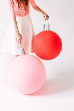 Weekend Project: make some giant baubles from round balloons, silver card & string. Love!
