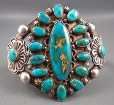 Old-Pawn-Navajo-Hand-Chisel-Sterling-Royston-Turquoise-Cluster-Split-Frame-Cuff