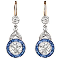 Sapphire Diamond Pendant Earrings | From a unique collection of vintage drop earrings at https://www.1stdibs.com/jewelry/earrings/drop-earrings/
