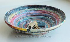 Decorative bowl made from magazine pages
