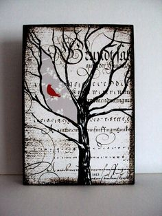 Window In Time Art Wood Block Tree Illustration Red Bird