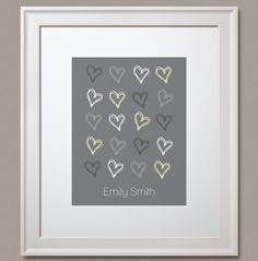 """Choose a colour! Personalize it, and make it your own! """"Personalized Scribbled Hearts"""" prints by Simple Sugar Design Simple Sugar, Heart Print, Scribble, Hearts, Colours, Make It Yourself, Frame, How To Make, Pattern"""