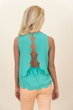 Nothing But Trouble Blouse-Seafoam... I know I pinned this in white... but I really really like this color soooo much more!  Especially for summer with an excellent bronze tan!!  ;)