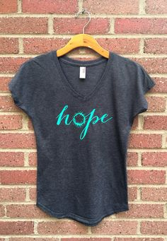 Hope Shirt  V Neck Womans Tee Gray Crown of by SimplyOneTees