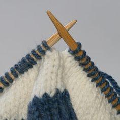 Méthode pour faire la jonction invisible de rayures en tricot circulaire.