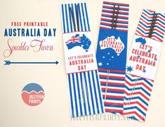 Make these DIY Printable Australia Day sparkler holders for Great celebration or party favors for your guests and the kids. Australian Party, Anzac Day, Australia Day, National Holidays, Lets Celebrate, Sparklers, Easy Projects, Themed Cakes, Holidays And Events