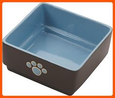 Ethical Pet Products (Spot) DSO6932 Stoneware 4-Square Dog Dish, 5-Inch, Blue - For our pretty pets (*Amazon Partner-Link)