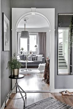 decordemon: Nordic charm in gray tones Decor Interior Design, Interior Decorating, Modern Scandinavian Interior, Entry Hallway, First Apartment, Studio, Home Projects, Living Room Decor, Living Rooms