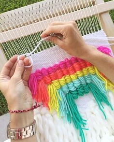 Weaving Textiles, Tapestry Weaving, Loom Weaving, Hand Weaving, Rug Yarn, Weaving Wall Hanging, Rainbow Decorations, Weaving Projects, Yarn Bombing