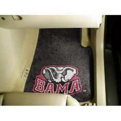 Alabama Crimson Tide NCAA Car Floor Mats (2 Front). Each Fan Mats product is produced in a 250;000 sq. ft. state-of-the art manufacturing facility. Only the highest quality; high luster yarn with 16 oz. face weight is used. These mats are chromo jet printed; allowing for unique; full penetration of the color on the machine washable non-skid Duragon latex backing with a sewn edge  - making for a beautiful and lasting piece for even the most aggressive fan.  Anything else would be…