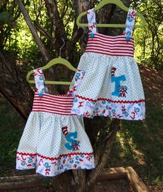 OMG this is making me hope it's another girl! Personalized Thing 1 & 2 Monogram Dr. Seuss dress via Etsy.