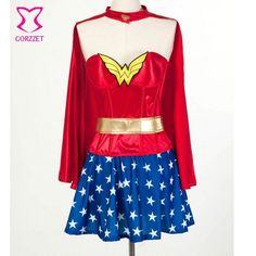 Push Up Red Corset Top With Blue Skirt & Cloak Cosplay Superwoman Wonder Woman Costume Sexy Halloween Costumes For Women Adult