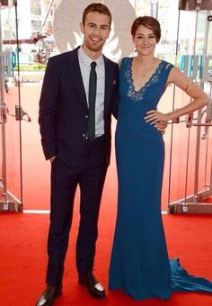 Theo James and Shailene Woodley at the European Divergent Red Carpet Premiere