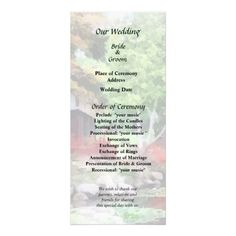 Japanese Garden With Red Bridge Wedding Program by Susan Savad -- Summer garden wedding program that you can customized yourself.  #wedding  #weddingprogram #weddingprograms #gettingmarried #customize #garden #gardens #japanesegarden #japanesegardens $0.65 per card   BULK PRICING AVAILABLE!