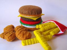 Felt Food Hamburger, french fries & chicken nuggets set eco friendly childrens pretend play food for toy kitchen. $26.00, via Etsy.