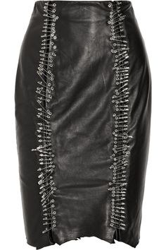 Balmain Safety pin-embellished leather pencil skirt #style #black #leather #skirt