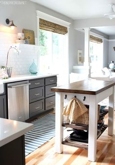 grey kitchen, stainless steel appliances, bamboo shades.