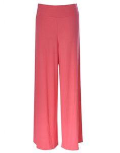Plain Jersey Palazzo Pants in Coral