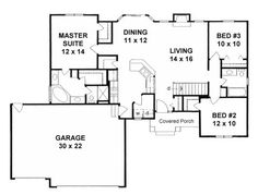 Plan # 1357 (sqft - room to add) - stairs become? Remove one garage space?