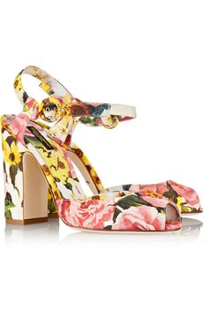 Heel measures approximately 105mm/ 4 inches Multicolored floral-brocade Buckle-fastening ankle strapSmall to size. See Size & Fit tab.