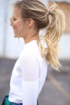 pony tail poni tail, fashion, hair colors, white shirts, ponies, blond, beauti, hairstyl, pony tails