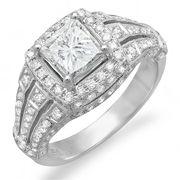 0.03 Carat (ctw) 925 Sterling Silver Round White Diamond Ladies Split Shank 3 Stone Promise Heart Ring - Dazzling Rock