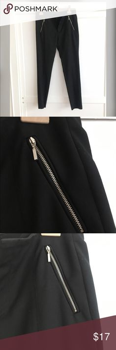 Zara black zip pocket comfy work pants Easy black, sleek, mid rise, comfy work pants, full length. I don't need to wear black pants for work often, so I think I wore them once. In great condition. I added a picture with them on, but I'm 5'4 and my legs are pretty short 😜. Zara Pants Skinny