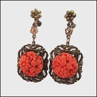 Authentic Antique Earrings RARE Sterling w Coral Glass 1920s Jewelry $195