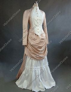 Tara's anniversary- Victorian Edwardian Bustle Dress Period Gown ca. 1880s Style Riding Habit Queen Witch Theatrical Costume PEACH
