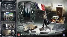 """The Notre Dame Edition of Assassin's Creed Unity includes the following:   A copy of Assassin's Creed: Unity, Extra single player missions, """"The American Prisoner"""" and """"The Chemical Revolution"""", giving an additional 45 minutes of gameplay, The Arno Gargoyle Figurine, standing 39.5 cm tall, 2 lithographs, The official Soundtrack, An Assassin's Creed Unity artbook & A Collector's Box to house everything"""
