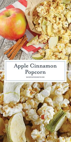 Apple Cinnamon Popcorn - A Easy Gourmet Popcorn Recipe Apple Cinnamon Popcorn is a great way to enjoy popcorn as a dessert or snack. Tossed with apple chips, honey, cinnamon and vanilla, you will crave this popcorn seasoning every day! Cinnamon Popcorn, Cinnamon Apples, Cinnamon Recipes, Best Diet Foods, Apple Chips, Gourmet Popcorn, Health And Nutrition, Nutrition Tips, Nutrition Products