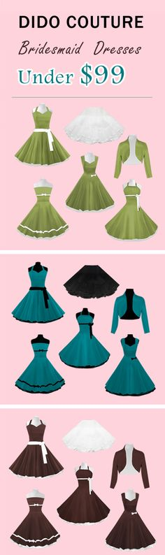 Vintage 1950's Style Tea Length & Short  Bridesmaid Dresses with Petticoats