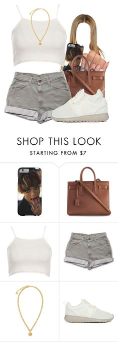 """""""NEW CONTEST"""" by lovebrii-xo ❤ liked on Polyvore featuring Yves Saint Laurent, Boohoo, Versace, NIKE, women's clothing, women, female, woman, misses and juniors"""