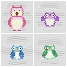 4 printable hama beads owl patterns to make for halloween or decorations.