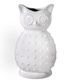 Take a look at this White Ceramic Owl Vase by Home Essentials and Beyond on #zulily today!
