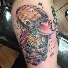 """We on the swarm"" Wu-Tang  tattoo by Mike Brummett"