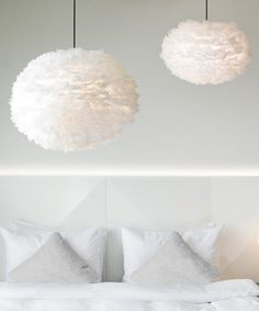 These VITA EOS feather light shades are stunning. Make an impact in any space with these handcrafted, goose feather lamp shades. Feather Light Shade, Feather Lamp, Ceiling Pendant, Pendant Lighting, Ceiling Lights, Pendant Lamps, Plug In Pendant Light, White Pendant Light, Ceiling Rose