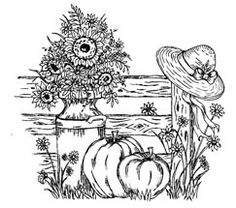 Of The Heart Fall Garden - Stamp of the MonthA pumpkin patch with a sunflower and a pickett fence Fall Coloring Pages, Adult Coloring Pages, Coloring Books, Tracing Art, Printable Designs, Printables, Ink Pen Drawings, Digi Stamps, Copics