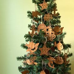 Tree with Wooden Beach and Nautical Christmas Ornaments. Sold in sets of 2. $18