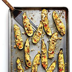 A run under the broiler creates a crunchy crust, an essential for Persian rice dishes.View Recipe: Persian Rice-Stuffed Zucchini with Pistachios and Dill Dill Recipes, Vegetable Recipes, Vegetarian Recipes, Vegetable Dishes, Vegan Meals, Healthy Recipes, Broccoli, Persian Rice, Summer Dishes
