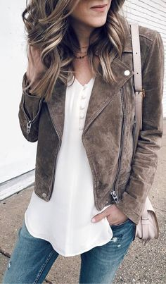 #spring #outfits white top, suede brown jacket, jeans