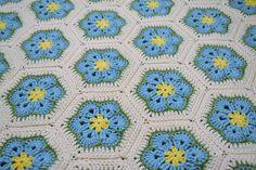 Crochet Afghan Blanket  Aqua Turquoise Blue  by LittlestSister