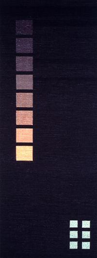 Rebecca Bluestone, Untitled #31, silk, dyes, metallic thread, cotton warp, 70 x 24 inches
