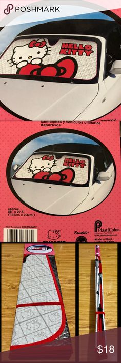 "Hello Kitty Auto Sunshade Accordion Brand new Hello Kitty Accordion Auto Sunshade. Protects, cools and block out UV Rays. Fits most cars, trucks and SUV. Ivory, white and red color. Measures approx. 58"" x 27.5 (147cm x 70 cm). Hello Kitty Other"