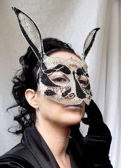 beautiful handmade rabbit masquerade mask