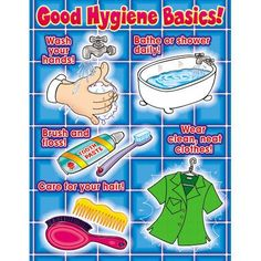 Standard 5 Health: Having pictures of a hygiene chart in your classroom can help keep the children stay healthy. Classroom Rules Poster, Classroom Charts, Classroom Bulletin Boards, Classroom Displays, Classroom Design, Classroom Decor, Classroom Snacks, Bulletin Board Borders, Classroom Helpers