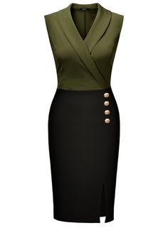 MissMay Women s Workwear Business Lapel Sleeveless Cocktail Party Pencil  Dress at Amazon Women s Clothing store  e296a3a88b