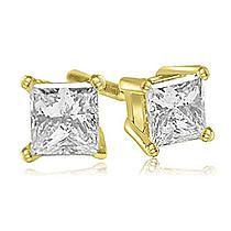 AMCOR 1.00 cttw. 18K Yellow Gold Princess Cut Diamond 4-Prong Basket Stud Earrings (I1, H-I)