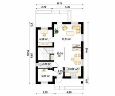 Projekt domu Oliwka 2 - rzut parteru Bungalow House Plans, Floor Plans, House Design, How To Plan, Life, Architecture Illustrations, Home Design Plans, Home Design, Design Homes